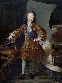 Un dipinto raffigurante Luigi XV in giovane età, di Hyacinthe Rigaud.