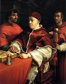 Raffaello, Ritratto di papa Leone X con i cardinali Giulio de' Medici e Luigi de' Rossi, 1518-1519, Firenze, Galleria degli Uffizi.