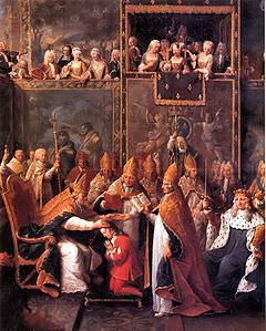 L'incoronazione di Luigi XV nella Cattedrale di Reims.