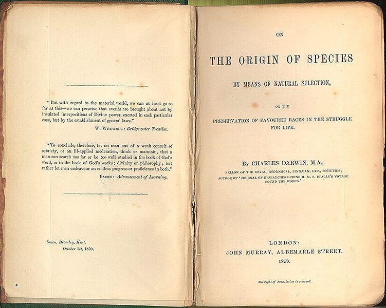 Il frontespizio dell'edizione del 1859 de L'origine delle specie