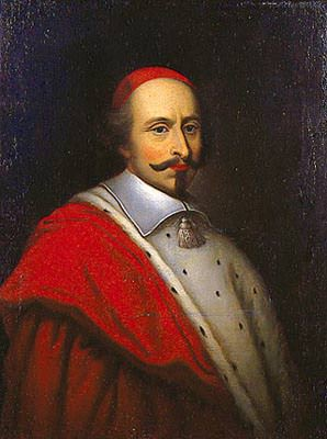 Ritratto del cardinale Mazzarino, da Pierre Louis Bouchart , con il suo ampio mantello di seta rossa e mosette di ermellino bianco.
