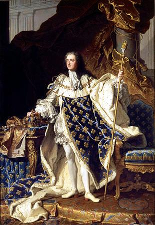 Luigi XV ventenne, dipinto di Hyacinthe Rigaud.