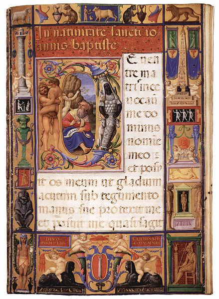 Una pagina miniata del Messale Colonna (John Rylands University Library, Manchester)