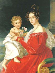 Francesco Giuseppe in braccio alla madre Sofia di Wittelsbach.