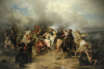 La morte di Gustavo Adolfo nella battaglia di Lutzen in un quadro del pittore Carl Wahlbom.