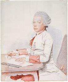 Leopoldo da giovane in una stampa dipinta da Jean-Étienne Liotard, 1762.
